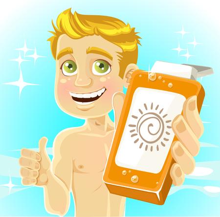 sunburn: Blond men presents cream for sunburn on shiny sea background