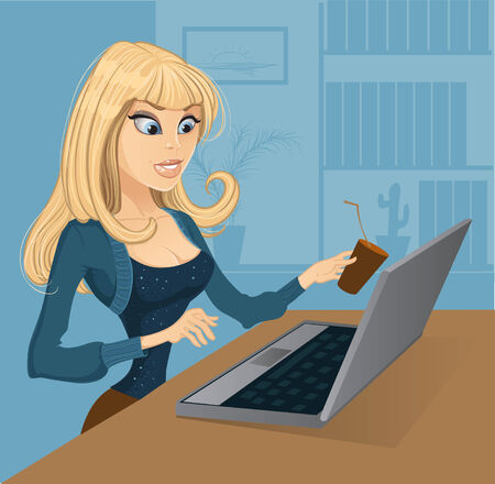 Blond with coffee and computer Vector