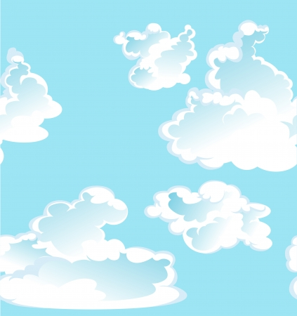 Blue vector seamless pattern of clouds Stock Vector - 23149155