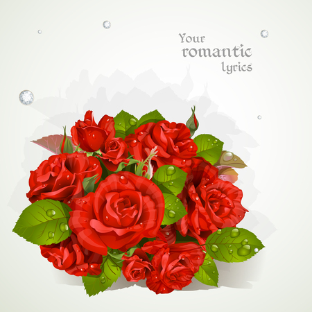 lyrics: Bouquet of red roses with a field for your lyrics. Romantic banner