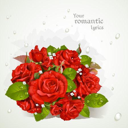 lyrics: Bouquet of red roses with a field for your lyrics. Romantic banner 1