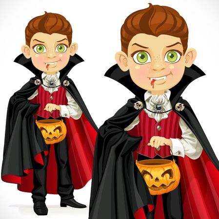 beautiful vampire: Boy dressed as a vampire with a basket for sweets
