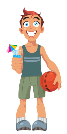 yong: vector smiling boy and a basketball ball Illustration