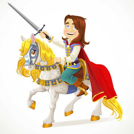 Brave Prince Charming on a white horse Vector