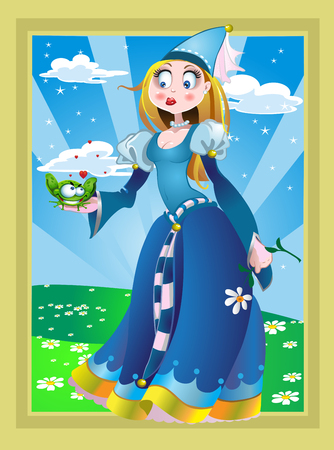 Charming Princess and the Frog in a fairy landscape Vector