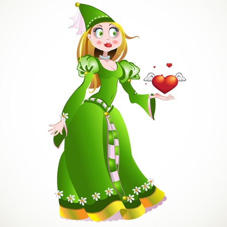 Charming princess in a green dress giving heart and love Vector
