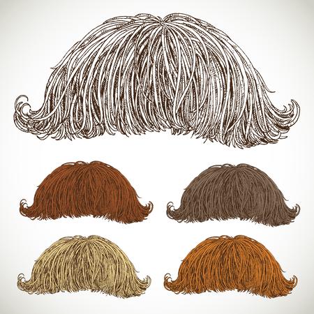 sideburn: Classic retro lush mustache set