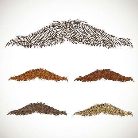 Classic retro thin mustache set