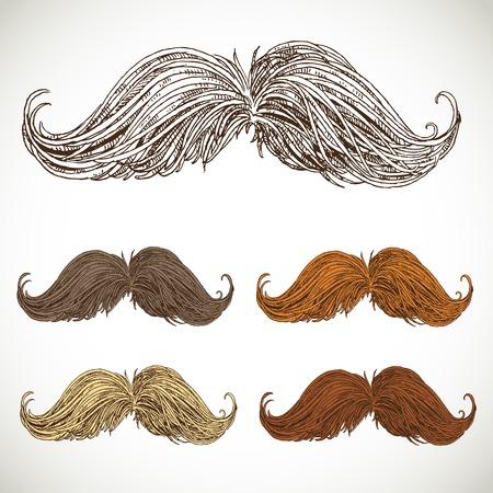 sideburn: Classic retro twisted mustache set