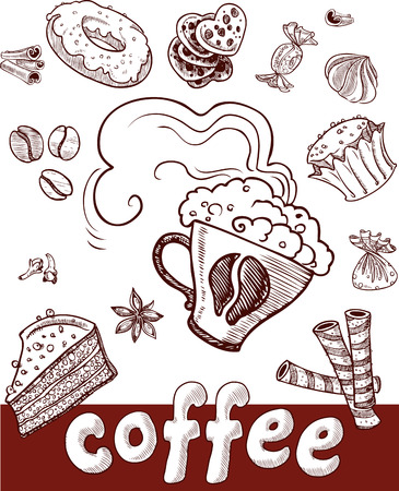 coffee and sweets.Handdrawing Stock Vector - 23149224