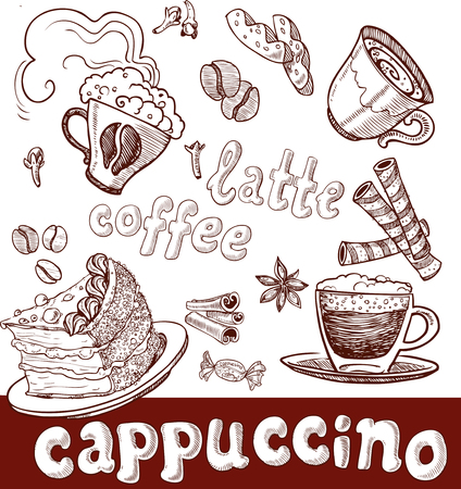 coffee, cappuccino, late and sweets. handwriting Vector