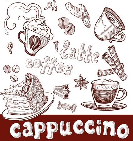 Kaffee, Cappuccino, spät und Süßigkeiten. Handschrift