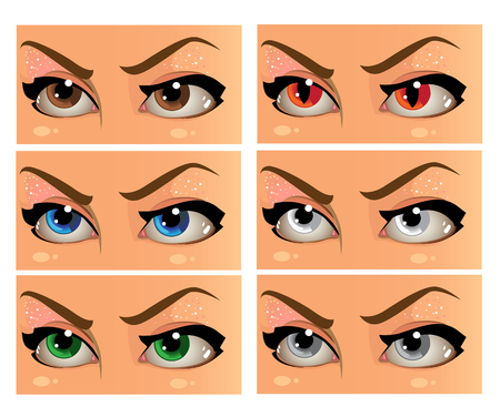 soulful eyes: Color and demonic women look in the face Illustration