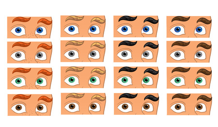 ceremonial make up: Color eyes look in the men face Illustration