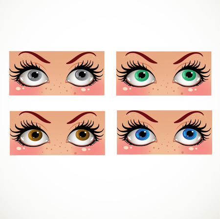 soulful eyes: Color women look smb in the face Illustration