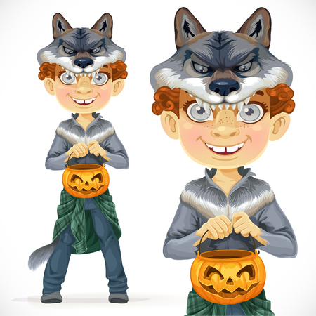Cute boy dressed as a werewolf with basket for sweets Vector