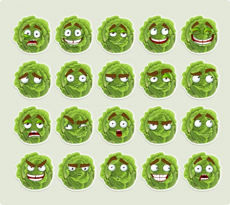 spirited: Cute cartoon green cabbage smile with many expressions icons