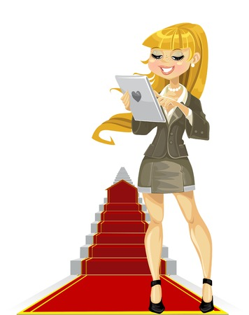 girl with laptop: Cute girl with laptop on success ladder Illustration
