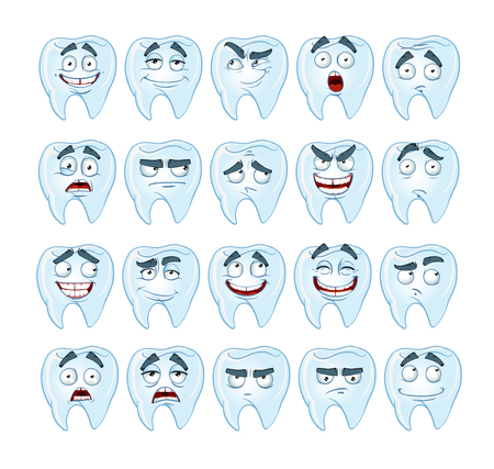 resentment: cute smile healthy teeth with different emotions
