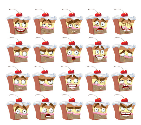 cute smiles delicious cake with different emotions Illustration