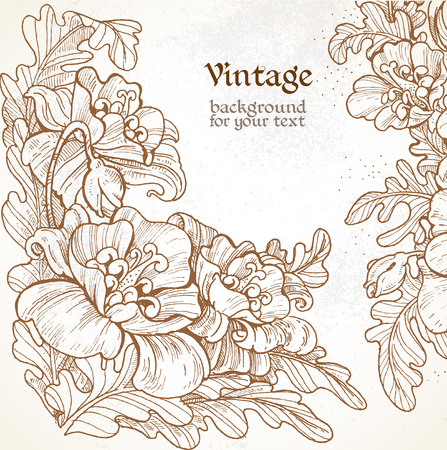 oldened: Decorative vintage frame with graphic pictures of poppies for your message Illustration
