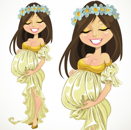 Dreaming pregnant woman in long dress Vector