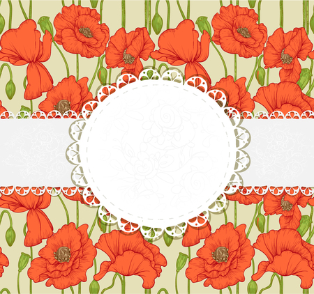 elegant vintage postcard with poppies Stock Vector - 23149293