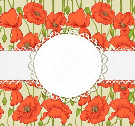 elegant vintage postcard with poppies Stock Vector - 23149293
