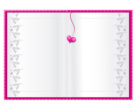 empty white book background for your text with pink heart Vector