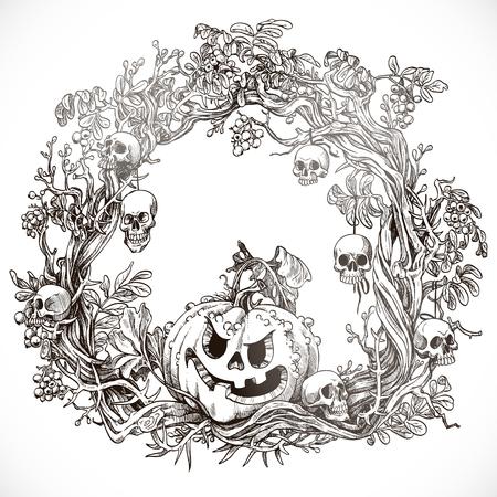 Festive decorative Halloween wreath graphic drawing Stock Vector - 23149333