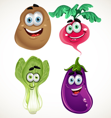 potato plant: Funny cartoon cute vegetables - lettuce, radishes, eggplant, potatoes