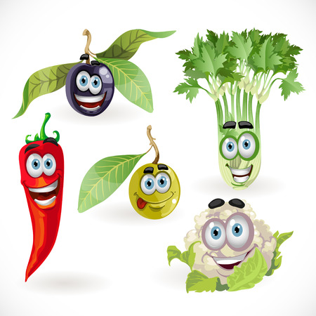 Funny cute vegetables smiles - celery, cauliflower, olives, chili ... Vector