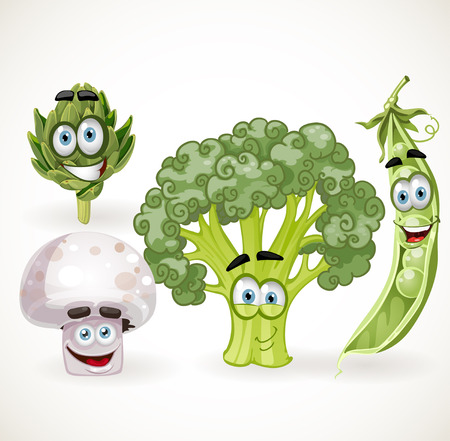 Funny cute vegetables smiles - mushroom, peas, broccoli, artichoke Illustration