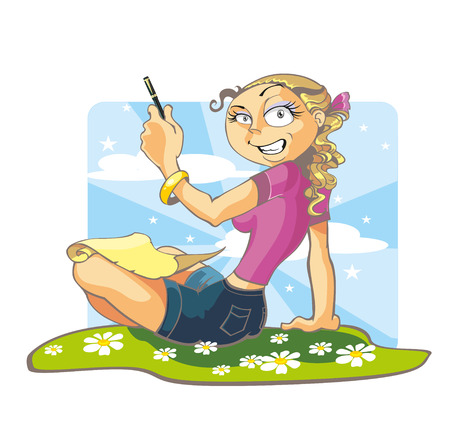 essays: Girl writes greetings Illustration