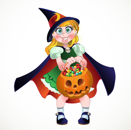 stupid body: Girl hold in her hands pumpkin with a candy
