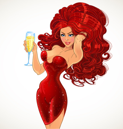 Glamour girl in red with champagne Vector