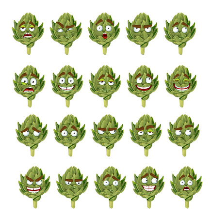 artichoke: green fresh useful eco-friendly artichoke smiles emotions