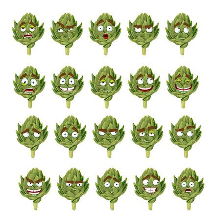 groene vers nuttige milieuvriendelijke artisjok glimlacht emoties