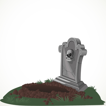 samhain: Halloween decorations tombstone and dug grave