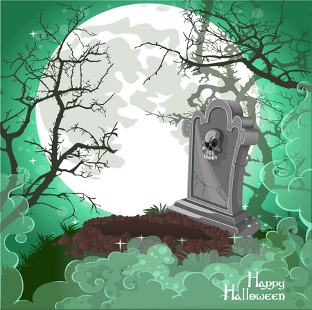 samhain: Halloween decorations tombstone on Halloween card Illustration