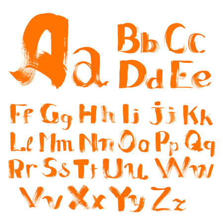 handwritten by a textured  brush alphabet with uppercase and lowercase characters Illustration
