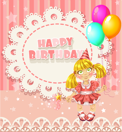 pretty blonde girl: Happy Birthday my little princess - openwork card for your greetings
