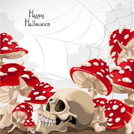 Happy Halloween banner with mushrooms and skull Illustration
