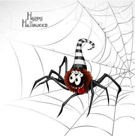 Cute spider on the web Vector