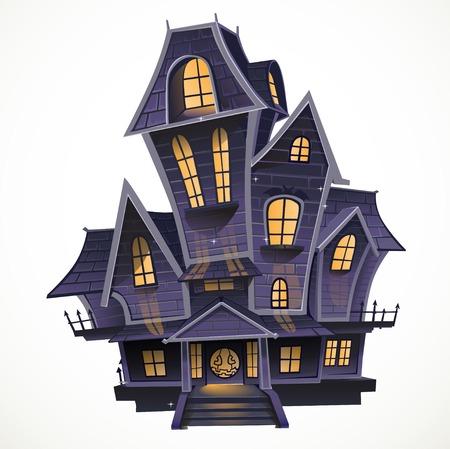 白い背景の上の幸せハロウィンお化け屋敷の居心地の良い isolatd  イラスト・ベクター素材