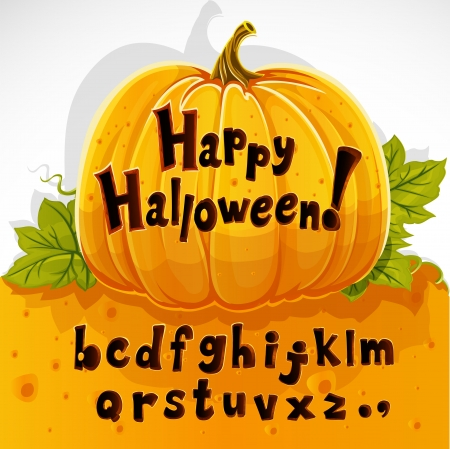 Happy Halloween cut out pumpkin lowercase alphabet Vector