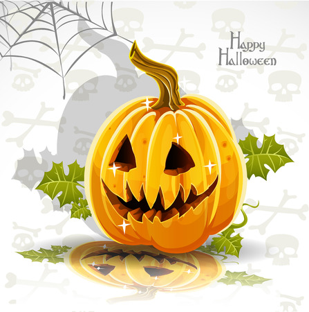 Happy Halloween banner - cut out pumpkin Jack Vector