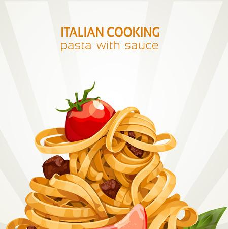 Cocinar las pastas italianas con salsa de bandera Ilustración de vector