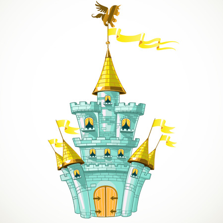 Magical fairytale blue castle with flags