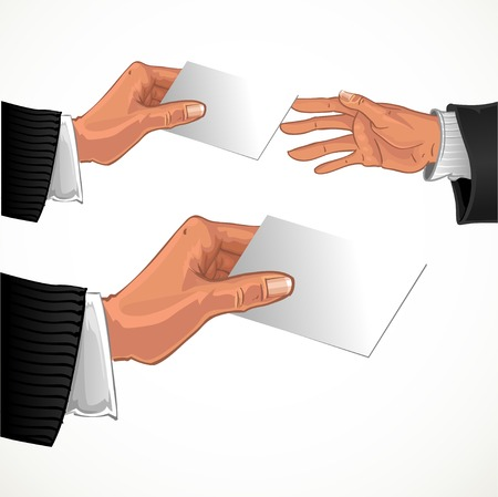 Male hand pass bwhite glossy business card to other male hand Illustration